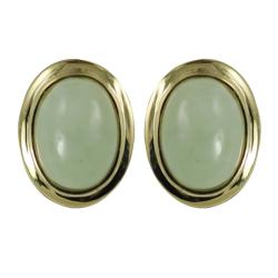 Gems For You 14k Yellow Gold Oval Jade Stud Earrings