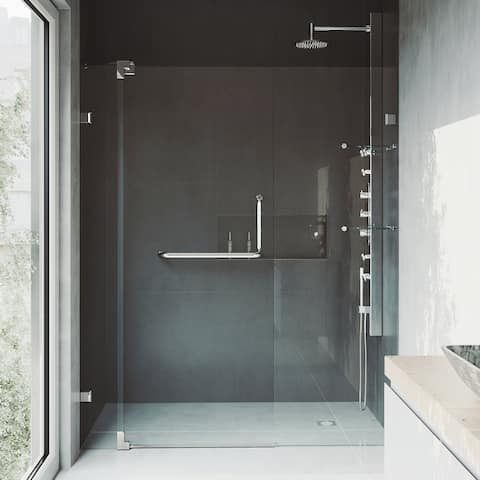 VIGO Pirouette Clear Adjustable Frameless Pivot Shower Door
