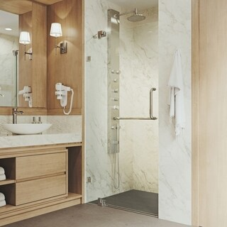 Vigo 42-inch Clear Glass Frameless Shower Door with Brushed Nickel Hardware