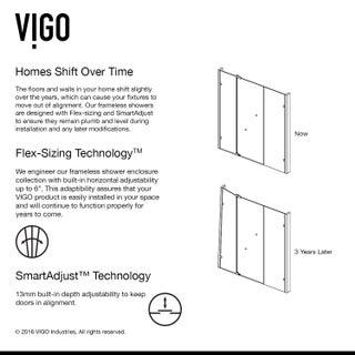 VIGO Pirouette 42-inch Pivot Shower Door Clear/Chrome