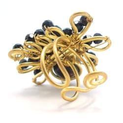 Handmade Black Crystal-Tiger's Eye Cluster Mesh Wrap Free-Size Ring (Thailand) - Thumbnail 1