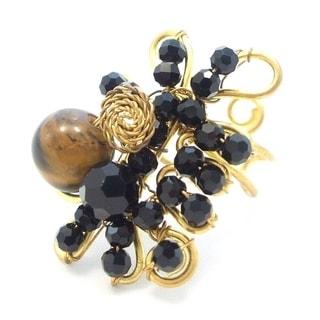 Handmade Amazing Tiger Eye Black Bead Cluster On Brass Statement Ring Thailand