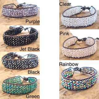 Handmade Shimmering Four Row Crystal Net Leather Bracelet (Thailand)