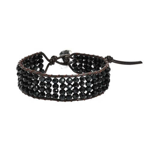 Handmade Shimmering Four Row Crystal Net Leather Bracelet (Thailand)