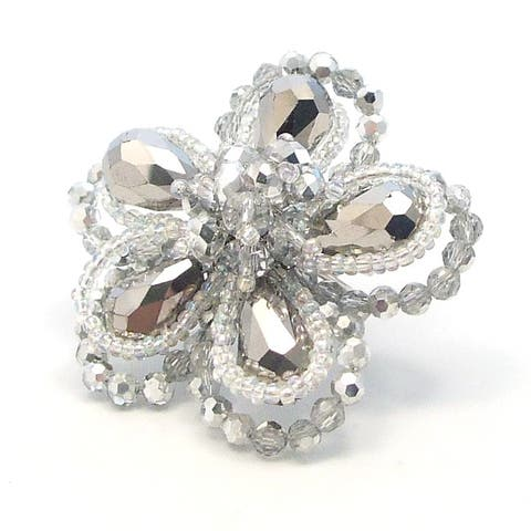 Handmade Silver Crystal Floral Free-Size Ring (Thailand)