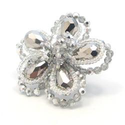 Silver Crystal Floral Free-Size Ring (Thailand)
