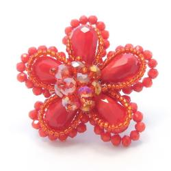 Red Crystal Floral Free-Size Ring (Thailand)