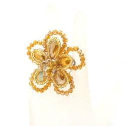 Handmade Gold Crystal Floral Free-Size Ring (Thailand) - Thumbnail 2