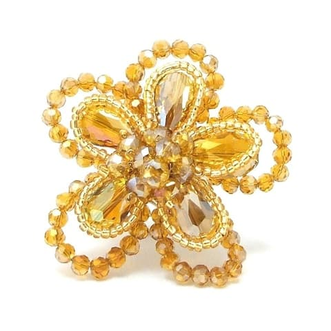 Handmade Gold Crystal Floral Free-Size Ring (Thailand)
