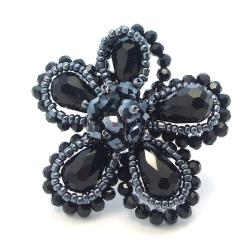 Black Crystal Floral Free-Size Ring (Thailand)