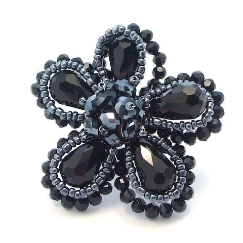 Handmade Black Crystal Floral Free-Size Ring (Thailand)