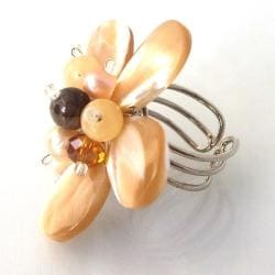 Brown Floral Natural Shell Free-Size Ring (Thailand)