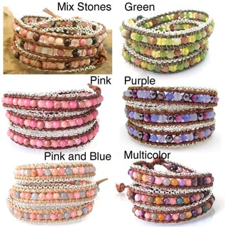 Leather Chain Link Triple Gemstone Wrap Bracelet (Thailand)