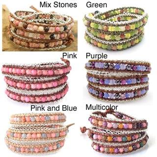 Leather Chain Link Triple Gemstone Wrap Bracelet (Thailand)