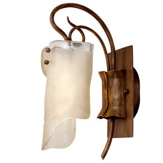 Varaluz Soho 1-light Brown Hammered Ore Ice Glass Light Fixture