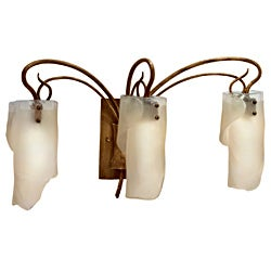 Varaluz Soho 3-light Brown Hammered Ore Ice Glass Light Fixture
