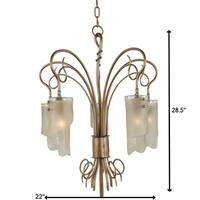 Varaluz Soho 5-light Brown Hammered Ore Ice Glass Chandelier
