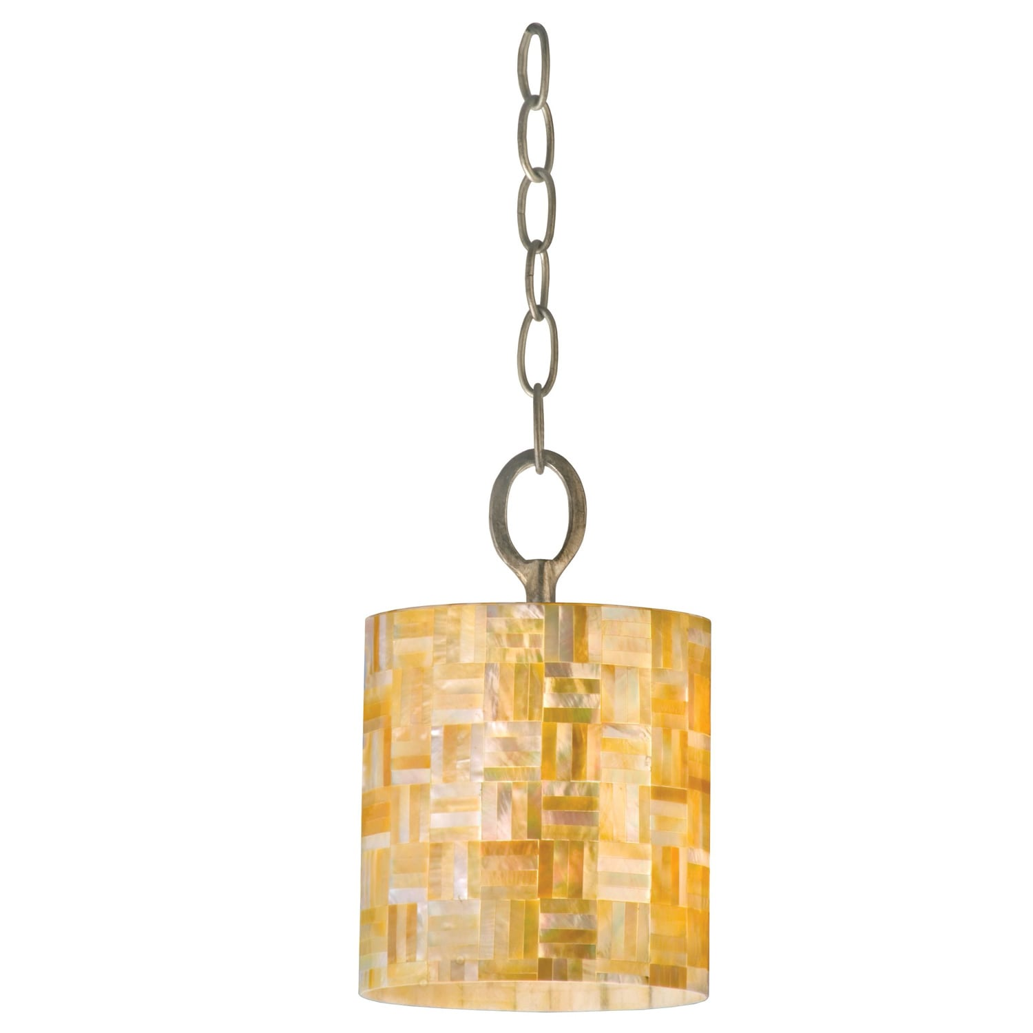 Varaluz Naturals 1-light Yellow Mother-of-Pearl Shell Mini Pendant Light Fixture