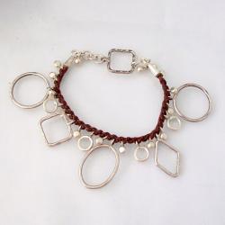 Geometric Shapes Silver Bracelet (Thailand) - Thumbnail 1