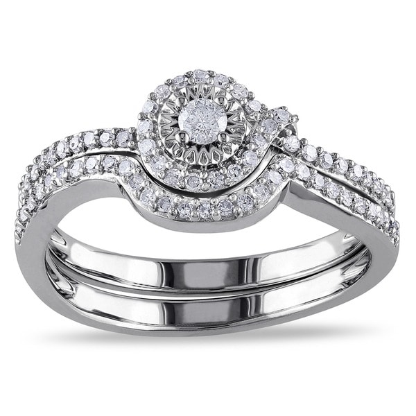 Miadora 10k White Gold 1/3ct TDW Diamond Bridal Ring Set (H-I, I2-I3)