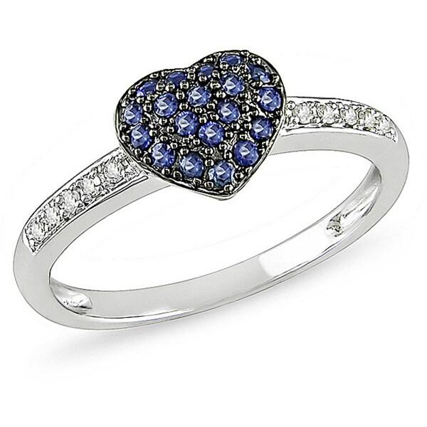 Miadora 10k White Gold 1/3ct TGW Sapphire and Diamond Accent Heart Ring