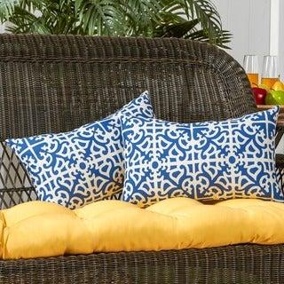 19x12-inch Rectangular Outdoor Indigo Accent Pillows (Set of 2)