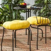 Porch & Den Rosewood Graham 18-inch Round Outdoor Yellow Bistro Chair Cushion (Set of 2)