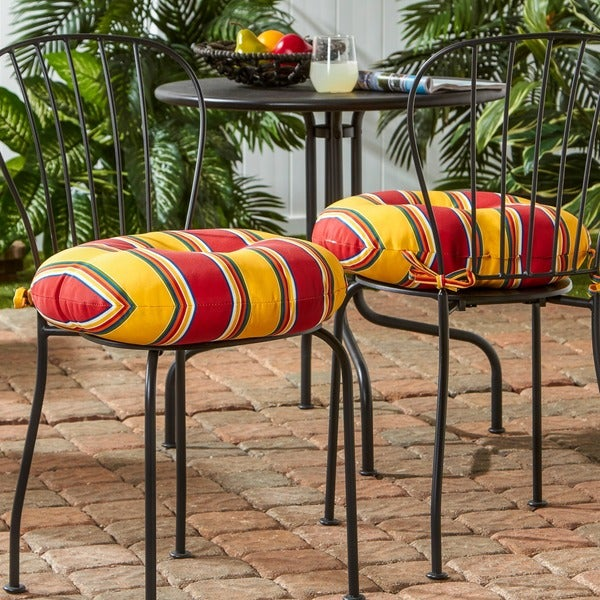 18 Round Patio Chair Cushions: 18-inch Round Outdoor Carnival Bistro Chair Cushion (Set
