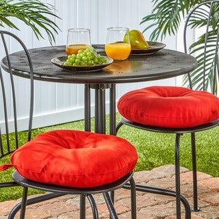 Porch & Den Rosewood Graham 15-inch Round Outdoor Red Bistro Chair Cushions (Set of 2)
