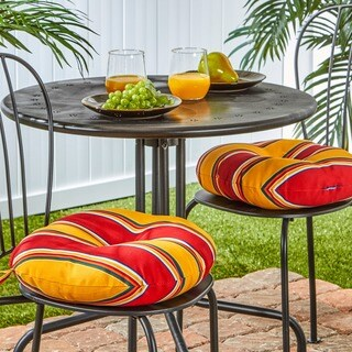 Havenside Home Elminton 15-inch Round Outdoor Stripe Bistro Chair Cushions (Set of 2)