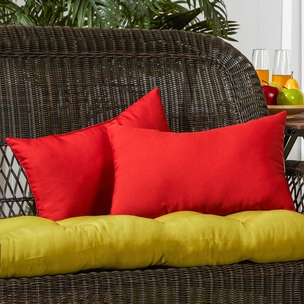 Havenside Home Driftwood 19x12 Inch Rectangular Outdoor Red Accent Pillows Set Of 2