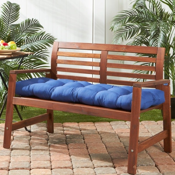 Greendale Home Fashions Outdoor Marine Blue Bench Cushion