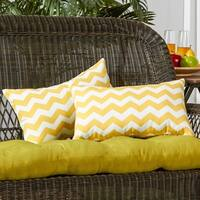 19x12-inch Rectangular Outdoor Zig Zag Yellow Accent Pillows (Set of 2) - 12h x 19l