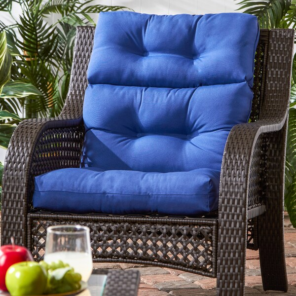 Shop 44x22 Inch 3 Section Outdoor Marine Blue High Back Chair