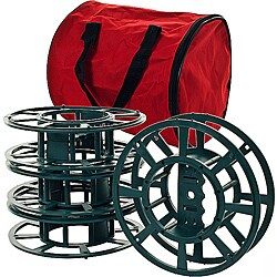 Black Plastic Extension Cord or Christmas Light Reels with Red Vinyl Bag (Set of 4 )