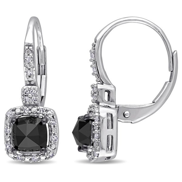 Miadora 14k White Gold 1ct TDW Black and White Diamond Earrings