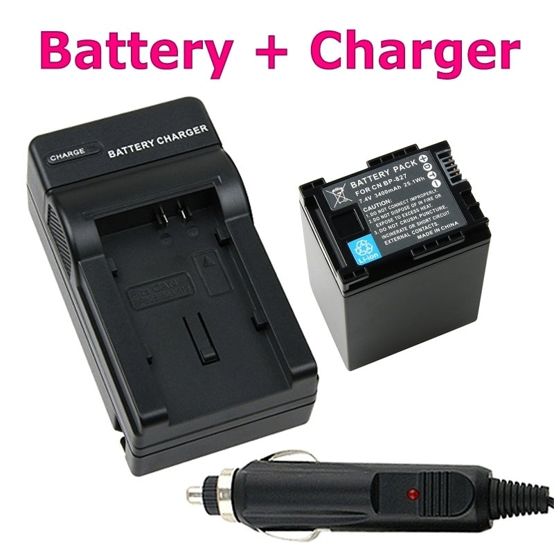 INSTEN Decoded Li-ion Battery/ Charger for Canon BP-827/ VIXIA HF 11
