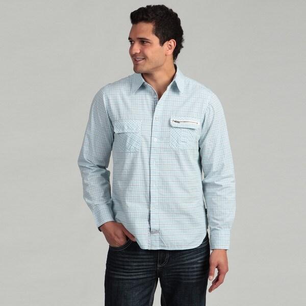 Lions Crest by English Laundry Men's Light Blue Multi Plaid Shirt