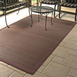 Espresso Rayon from Bamboo Rug with Brown Border (5' x 8')