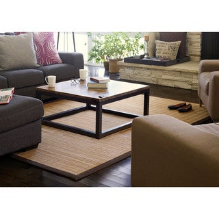 Jani Zenith Bamboo Rug with Brown Border - 5' x 8'