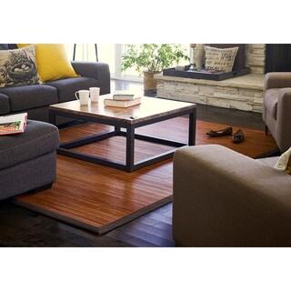 Jani Truffle Bamboo Rug with Brown Border (5' x 8') - 5' x 8'