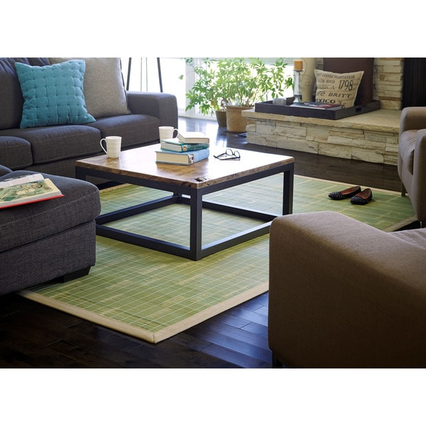 Jani Citroen Green Bamboo Tan Border Area Rug (4' x 6')