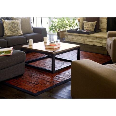 Jani Apyan Mahogany Bamboo Rug with Black Border - 4' x 6'