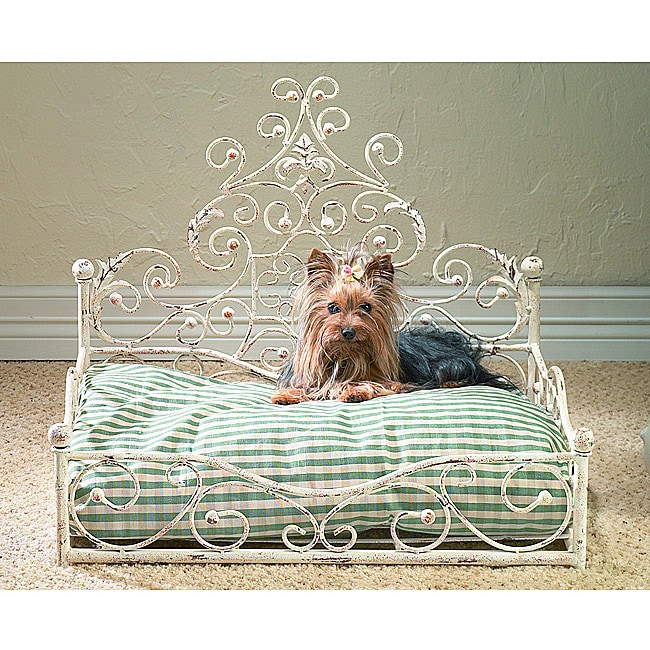 Old World Antique Scroll Pet Bed With Wood Ball Finials