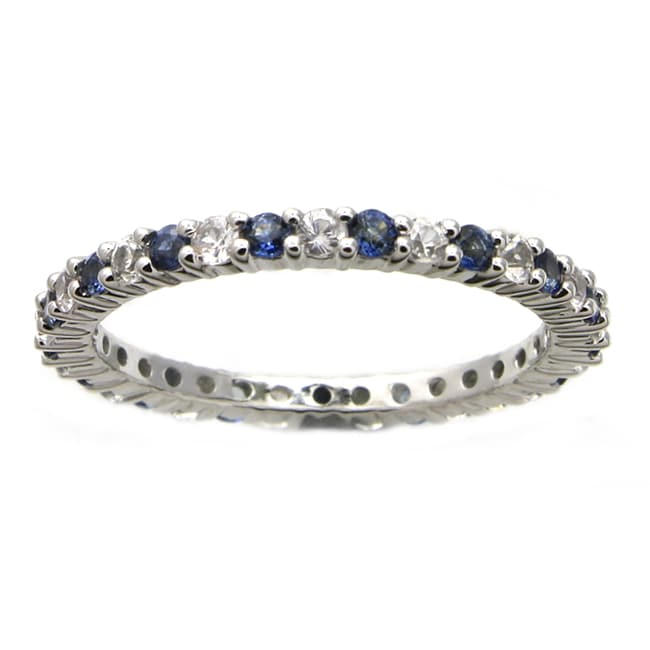 Beverly Hills Charm 10k White Gold Blue and White Sapphire Eternity Band
