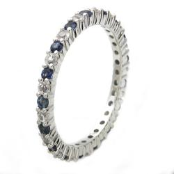 Beverly Hills Charm 10k White Gold Blue and White Sapphire Eternity Band - Thumbnail 1