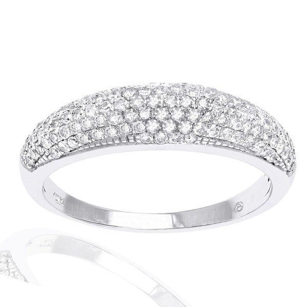 10k White Gold 1/2ct. TDW Micro-Pave Domed Diamond Band Ring