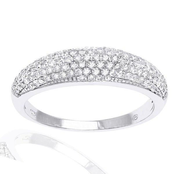 Beverly Hills Charm 10K White Gold 1/2ct. TDW Micro-Pave Domed Diamond Band Ring