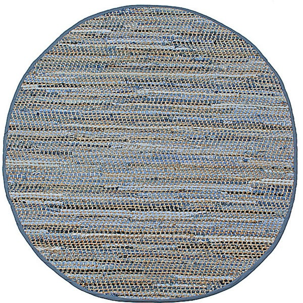 Hand Woven Blue Jeans Round Rug (5x5)