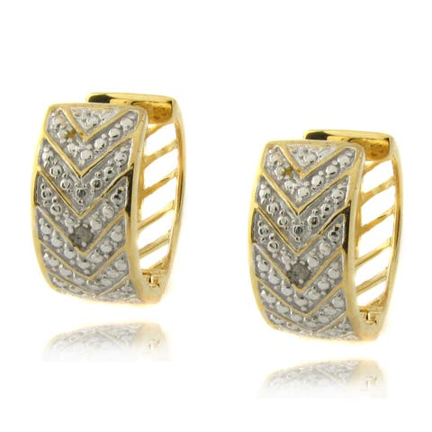Finesque Sterling Silver Diamond Accent 'V' Hoop Earrings
